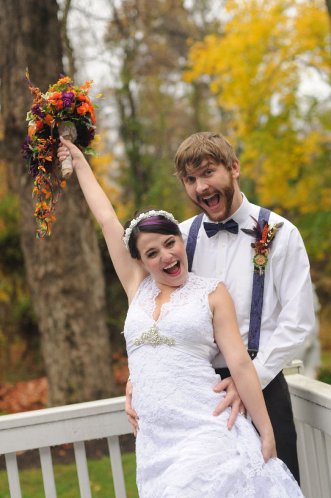 Excited bride and groom